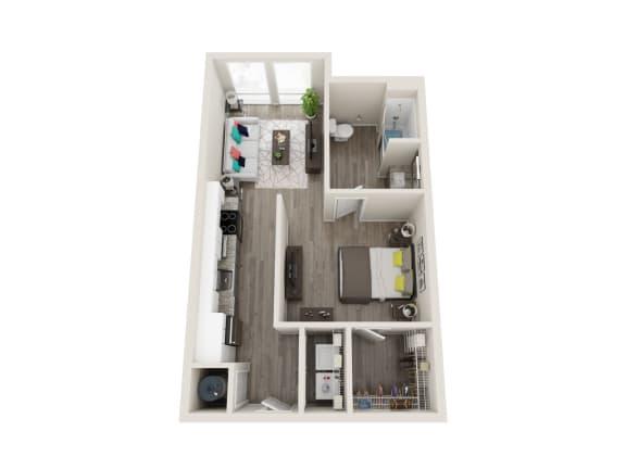 Floor Plan  A1-A 1 Bed 1 Bath 608 Sqft Floor Plan at Link Apartments® Grant Park, Atlanta, Georgia