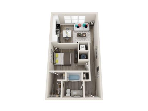 A2 1 Bed 1 Bath 584 Sqft Floor Plan at Link Apartments® Grant Park, Atlanta