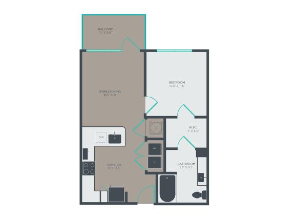 A3-A 1 Bed 1 Bath Floor Plan at Link Apartments® Grant Park, Georgia