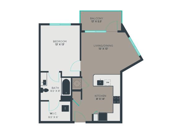 A3-Alt 1 Bed 1 Bath Floor Plan at Link Apartments® Grant Park, Georgia, 30312