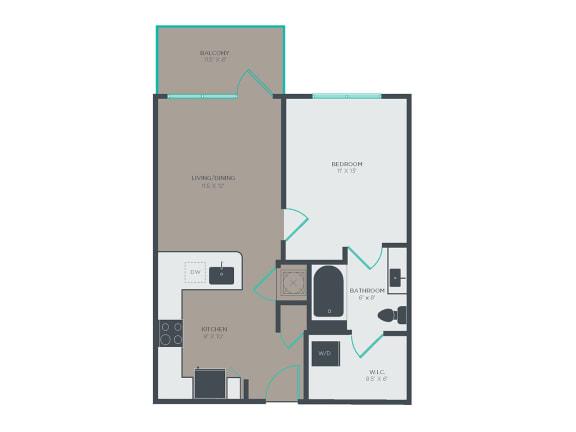 Floor Plan  A3 1 Bed 1 Bath Floor Plan at Link Apartments® Grant Park, Atlanta