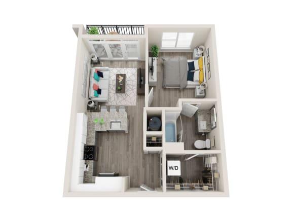 A3 1 Bed 1 Bath 653 Sqft Floor Plan at Link Apartments® Grant Park, Georgia