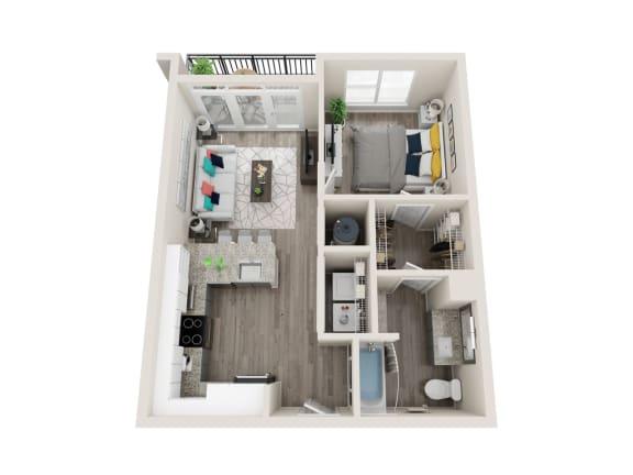 Floor Plan  A3-A 1 Bed 1 Bath 653 Sqft Floor Plan at Link Apartments® Grant Park, Georgia, 30312
