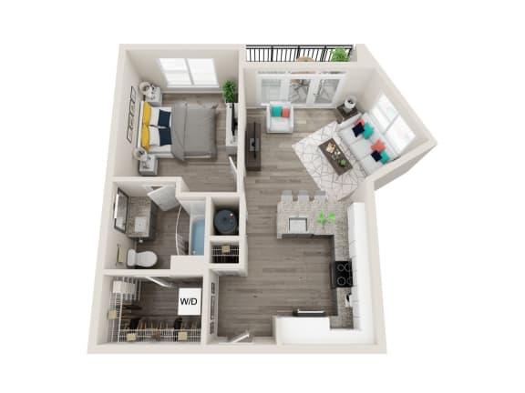 Floor Plan  A3-Alt 1 Bed 1 Bath 706 Sqft Floor Plan at Link Apartments® Grant Park, Atlanta, GA, 30312