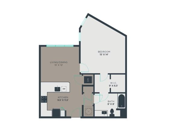 A7-Alt 1 Bed 1 Bath Floor Plan at Link Apartments® Grant Park, Atlanta, GA