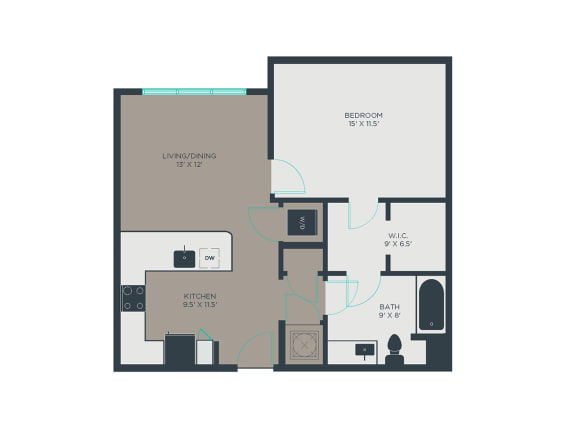 Floor Plan  A7 1 Bed 1 Bath Floor Plan at Link Apartments® Grant Park, Atlanta, GA, 30312