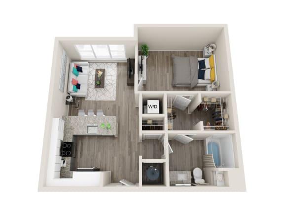 A7 1 Bed 1 Bath 762 Sqft Floor Plan at Link Apartments® Grant Park, Atlanta, GA