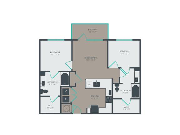 B1-A 2 Bed 2 Bath Floor Plan at Link Apartments® Grant Park, Atlanta