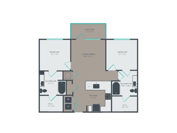 Floor Plan  B1 2 Bed 2 Bath Floor Plan at Link Apartments® Grant Park, Atlanta, Georgia