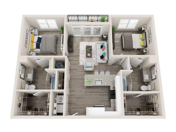 B1 2 Bed 2 Bath 1052 Sqft Floor Plan at Link Apartments® Grant Park, Atlanta, 30312