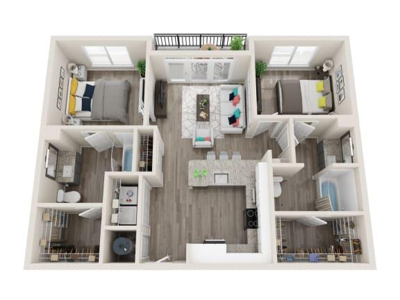 Floor Plan  B1-A 2 Bed 2 Bath 1052 Sqft Floor Plan at Link Apartments® Grant Park, Atlanta, Georgia