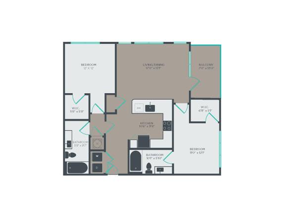 Floor Plan  B2 2 Bed 2 Bath Floor Plan at Link Apartments® Grant Park, Georgia