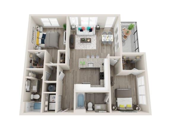 B2 2 Bed 2 Bath 1107 Sqft Floor Plan at Link Apartments® Grant Park, Atlanta