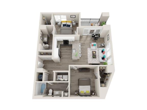 B2-Alt 2 Bed 2 Bath 1085 Sqft Floor Plan at Link Apartments® Grant Park, Georgia