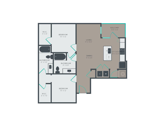 Floor Plan  B3 2 Bed 2 Bath Floor Plan at Link Apartments® Grant Park, Atlanta, GA, 30312