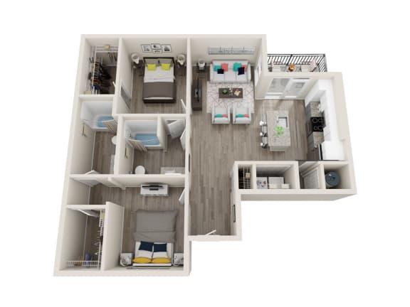 B3 2 Bed 2 Bath 1036 Sqft Floor Plan at Link Apartments® Grant Park, Georgia, 30312