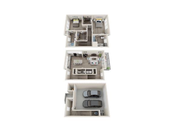 TH 2 Bed 2.5 Bath 1570 Sqft Floor Plan at Link Apartments® Grant Park, Atlanta, GA, 30312