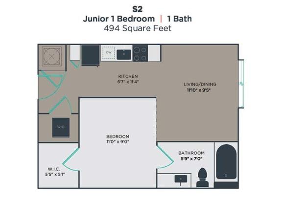 1 Bedroom 1 Bathroom Floor Plan at Link Apartments® Innovation Quarter, Winston Salem