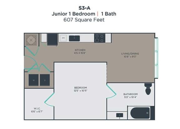 1 Bedroom 1 Bath Floor Plan at Link Apartments® Innovation Quarter, Winston Salem, NC, 27101