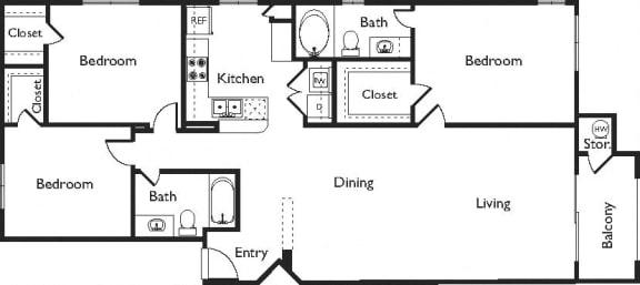 G Floor Plan, at Missions at Sunbow Apartments, Chula Vista, California