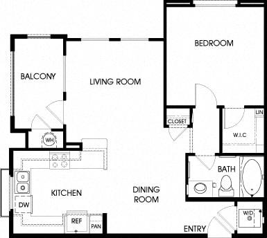 40a - 1x1 Floor Plan, at Tavera California, 91913