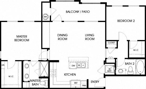 40b - 2x2 Floor Plan, at Tavera, Chula Vista, 91913