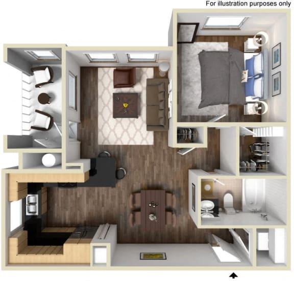 Floor Plan  40a - 1x1 Floor Plan, at Tavera, CA, 91913