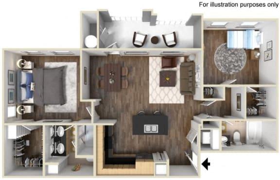 Floor Plan  40b - 2x2 Floor Plan, at Tavera, 1465 Santa Victoria Rd, CA