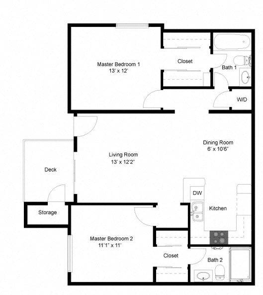 San Remo Floorplan Two Bedroom Two Bath