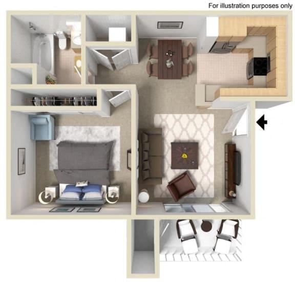 Floor Plan  Saint Auban Floorplan One Bedroom One Bath