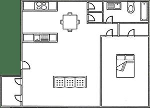 Floor Plan  1 bed, 1 bath 645 square foot floor plan
