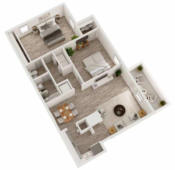 Floor Plan  Two bedroom, one and a half bathroom apartment home 3D floor plan at Berry Falls Apartments, Vestavia Hills, Alabama