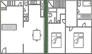 Floor Plan  2 bed, 2.5 bath 1000 square foot floor plan