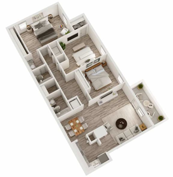 Floor Plan  Three bedroom, two bathroom apartment home 3D floor plan at Berry Falls Apartments, Vestavia Hills