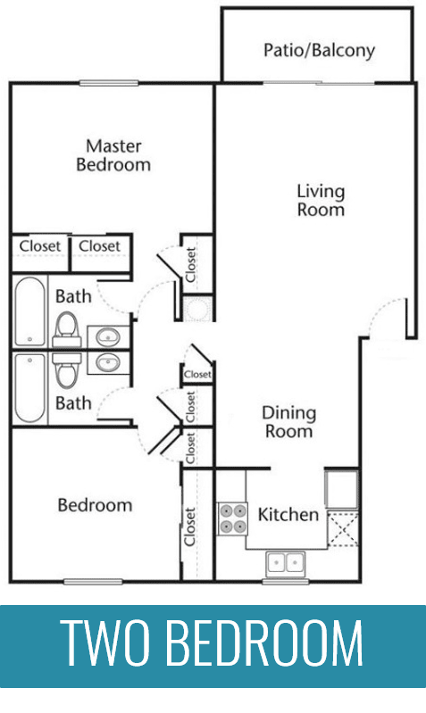 Floor Plan  Two bedroom two bathroom apartment home at The Jameson Apartments, Homewood, AL