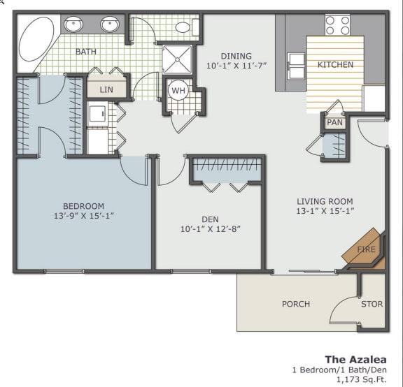 Floor Plan  The Azalea 1x1 1173 square foot floor plan with Den