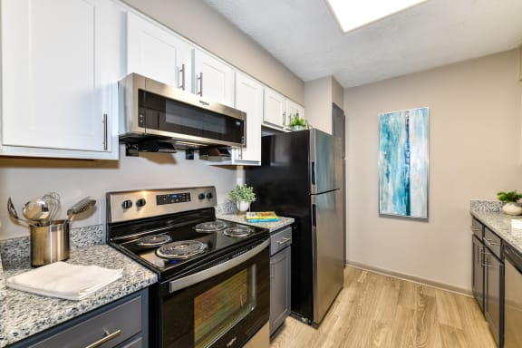 upgraded kitchen with granite countertops, stainless steel appliances, and hardwood-style floors