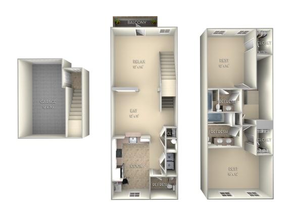 Boca Grande Unfurnished 2 Bed 2.5 Bath Floor Plan at Northlake Park, Orlando