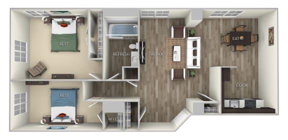 Floor Plan  Adams 2 Bedroom 1 Bath Floor Plan at Columbia Uptown, Washington, DC, 20009