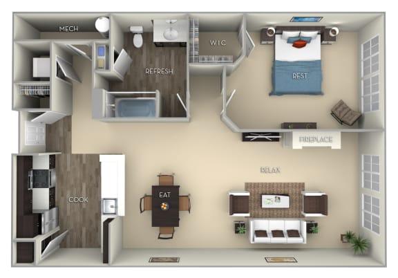 Floor Plan  Bristol Kensington Place 1 bedroom 1 bath furnished floor plan apartment in Woodbridge VA at Kensington Place, Virginia