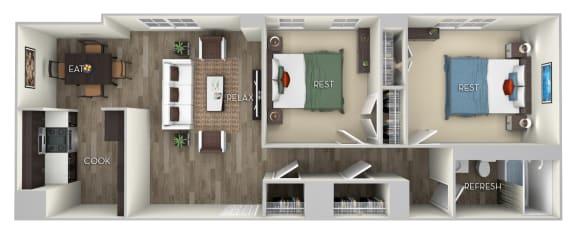 Floor Plan  Douglas 2 Bedroom 1 Bath Floor Plan at Columbia Uptown, Washington
