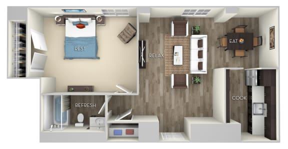 Floor Plan  Girard 1 Bed 1 Bath Floor Plan at Columbia Uptown, Washington, Washington