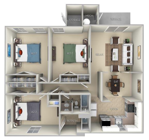 Floor Plan  Ashton Fairfax Square 3 bedroom 2 bath furnished floor plan apartment in Fairfax VA at Fairfax Square, Fairfax, VA