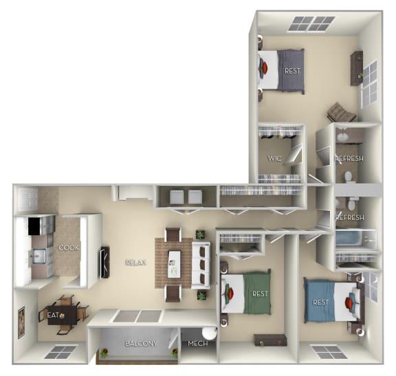 Floor Plan  Braddock Fairfax Square 3 bedroom 2 bath furnished floor plan apartment in Fairfax VA at Fairfax Square, Fairfax, Virginia