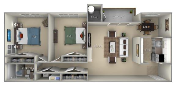 Floor Plan  Fairfax Fairfax Square 2 bedroom 1 bath furnished floor plan apartment in Fairfax VA at Fairfax Square, Virginia, 22031