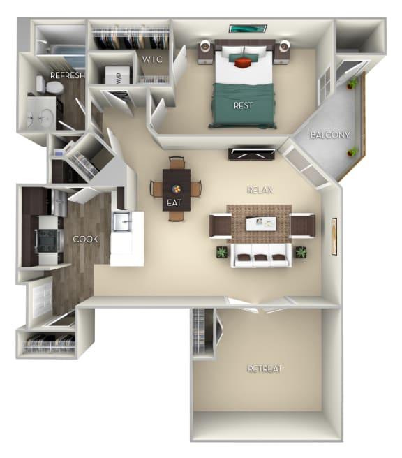 Floor Plan  Westminster Kensington Place 1 bedroom 1 bath furnished floor plan apartment in Woodbridge VA at Kensington Place, Woodbridge, 22191