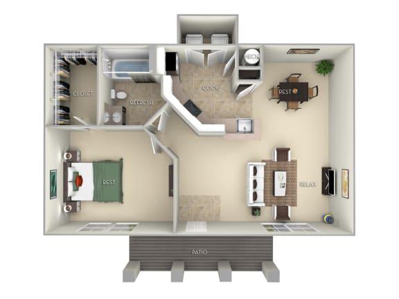 Floor Plan  Madeira-Furnished 1 Bed 1 Bath Floor Plan at Northlake Park, Orlando, 32827