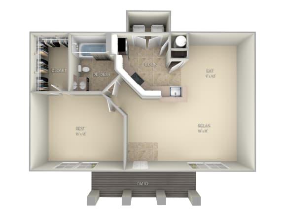 Madeira-Unfurnished 1 Bedroom 1 Bathroom Floor Plan at Northlake Park, Orlando, FL