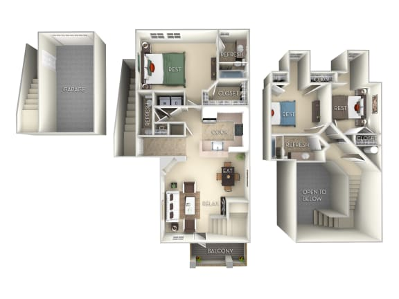 Floor Plan  Sanibel-Furnished 3 Bed 2.5 Bath Floor Plan at Northlake Park, Orlando