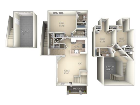 Sanibel-Unfurnished 3 Bedroom and 2.5 Bath Floor Plan at Northlake Park, Orlando, Florida
